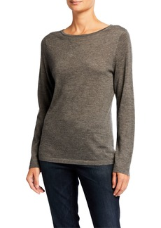 Neiman Marcus Boat-Neck Long-Sleeve Superfine Cashmere Sweater