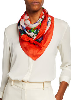 Neiman Marcus Bordered Floral Silk Scarf