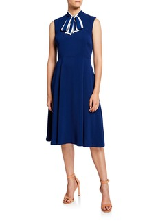 Neiman Marcus Bow-Neck Sleeveless Scuba Crepe Fit-&-Flare Dress