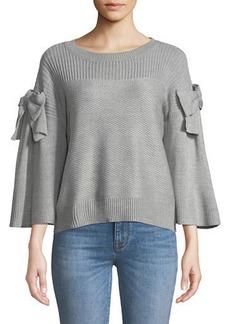 Neiman Marcus Bowed-Sleeve Sweater