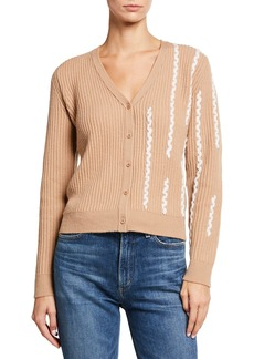 Neiman Marcus Braided Button-Front Cashmere Cardigan