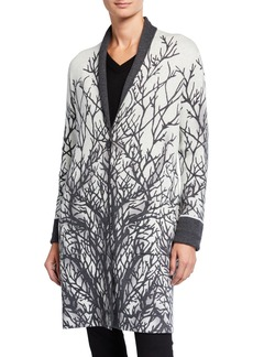 Neiman Marcus Branch-Print Double Face Coat