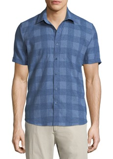 Neiman Marcus Buffalo-Check Short-Sleeve Sport Shirt