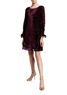 Neiman Marcus Burnout Velvet Tie-Cuff Dress