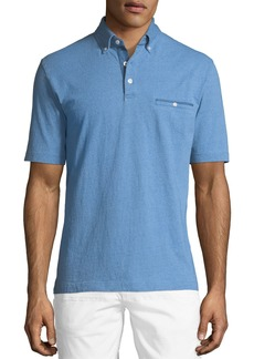 Neiman Marcus Button-Down Knit Polo Shirt