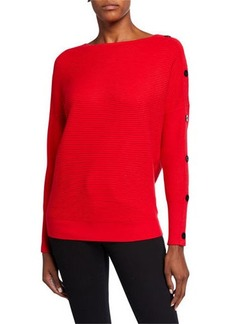 Neiman Marcus Button-Sleeve Ribbed Pullover
