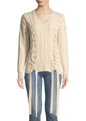 Neiman marcus cable knit lace up v neck sweater abvea192ef3 a