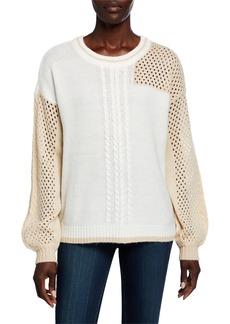 Neiman Marcus Cable-Stitch Crewneck Sweater