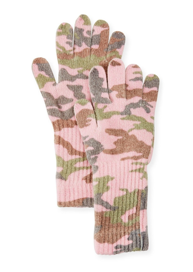Neiman Marcus Camo Wool-Blend Gloves