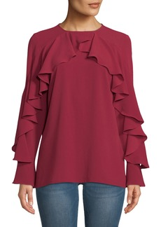 Neiman Marcus Cascading Ruffle-Trimmed Blouse