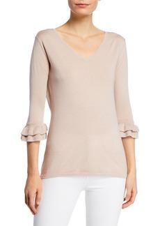 Neiman Marcus Cashmere & Metallic Trim V-Neck 3/4 Ruffle-Sleeve Sweater Top