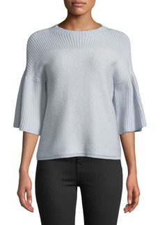 Neiman Marcus Cashmere 3/4-Bell Sleeve Mixed-Stitch Sweater