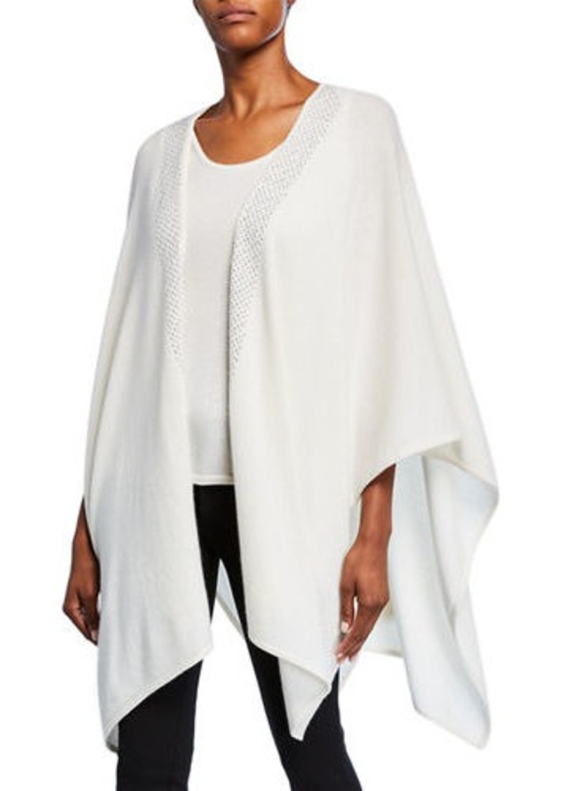 Neiman Marcus Cashmere 3/4-Sleeve Shawl with Embellished Trim