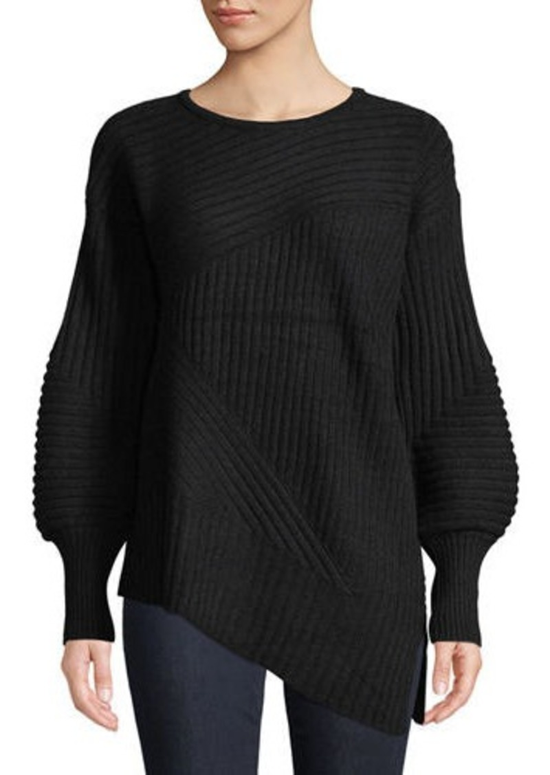 Neiman Marcus Cashmere Balloon-Sleeve Ribbed Sweater