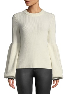 Neiman Marcus Cashmere Balloon-Sleeve Sweater