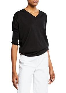 Neiman Marcus Cashmere-Blend V-Neck 3/4-Sleeve Slim-Fit Top