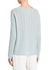 Neiman Marcus Cashmere Boat-Neck High-Low Cable-Knit Sweater