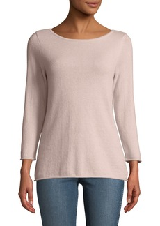 Neiman Marcus Cashmere Boat-Neck Pullover Sweater  Pink