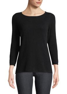 Neiman Marcus Cashmere Boat-Neck Pullover Sweater  Black