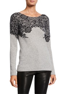 Neiman Marcus Cashmere Boat-Neck Sweater with Lace Print