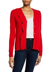 Neiman Marcus Cashmere Button-Front Ruffle Cardigan