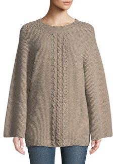 Neiman Marcus Cashmere Cable-Front Tunic