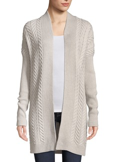 Neiman Marcus Cashmere Cable-Knit Open-Front Cardigan