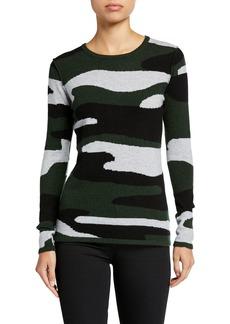 Neiman Marcus Cashmere Camo-Print Crewneck Sweater