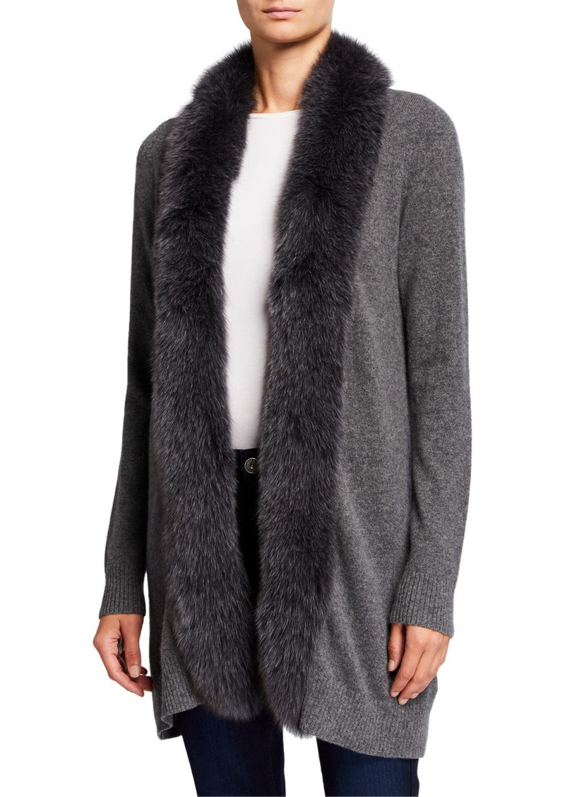 Neiman Marcus Cashmere Cardigan with Fox Fur Trim