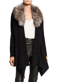 Neiman Marcus Cashmere Cascade Cardigan w/ Detachable Fox Fur Collar