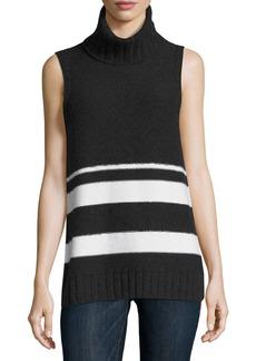 Neiman Marcus Cashmere Chain-Trim Striped Sleeveless Turtleneck