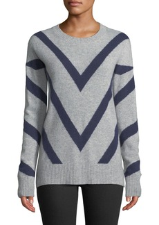 Neiman Marcus Cashmere Chevron-Striped Sweater