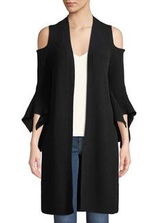 Neiman Marcus Cashmere Cold-Shoulder Flare-Sleeve Cardigan