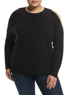 Neiman Marcus Cashmere Cold-Shoulder Sweater