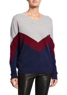 Neiman Marcus Cashmere Colorblock Chevron V-Neck Sweater