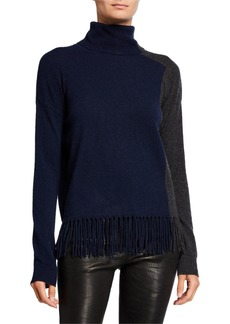 Neiman Marcus Cashmere Colorblock Turtleneck Sweater with Fringe Hem