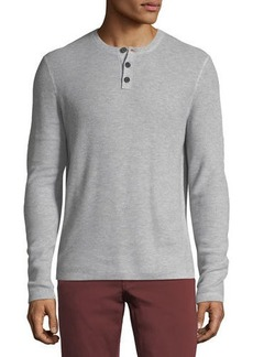 Neiman Marcus Cashmere-Cotton Henley Sweater