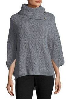 Neiman Marcus Cashmere Cowl-Neck Cable-Knit Poncho