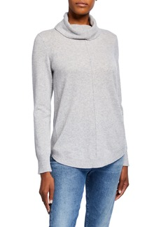 Neiman Marcus Cashmere Cowl-Neck Sweater with Curved Hem