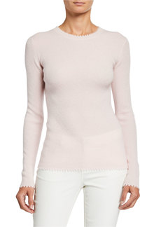 Neiman Marcus Cashmere Cut-Edge Sweater
