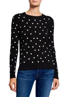 Neiman Marcus Cashmere Dots Crewneck Sweater