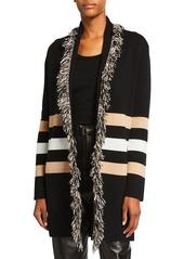 Neiman Marcus Cashmere Double Knit Striped Fringe Trim Cardigan