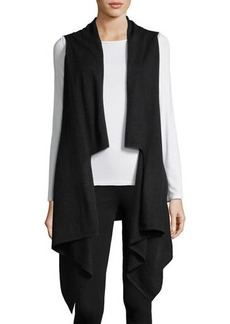 Neiman Marcus Cashmere Draped Sleeveless Vest