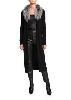 Neiman Marcus Cashmere Duster with Fox Fur Collar