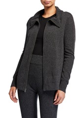 Neiman Marcus Cashmere Embroidered Stripe Zip-Up Jacket