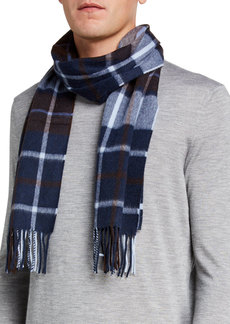 Neiman Marcus Cashmere Exploded Plaid Scarf