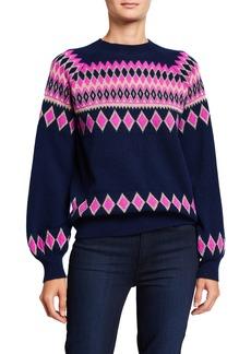 Neiman Marcus Cashmere Fair Isle Pullover Sweater
