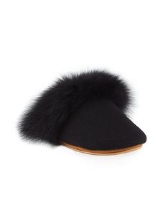 Neiman Marcus Cashmere Fox Fur-Trim Slippers
