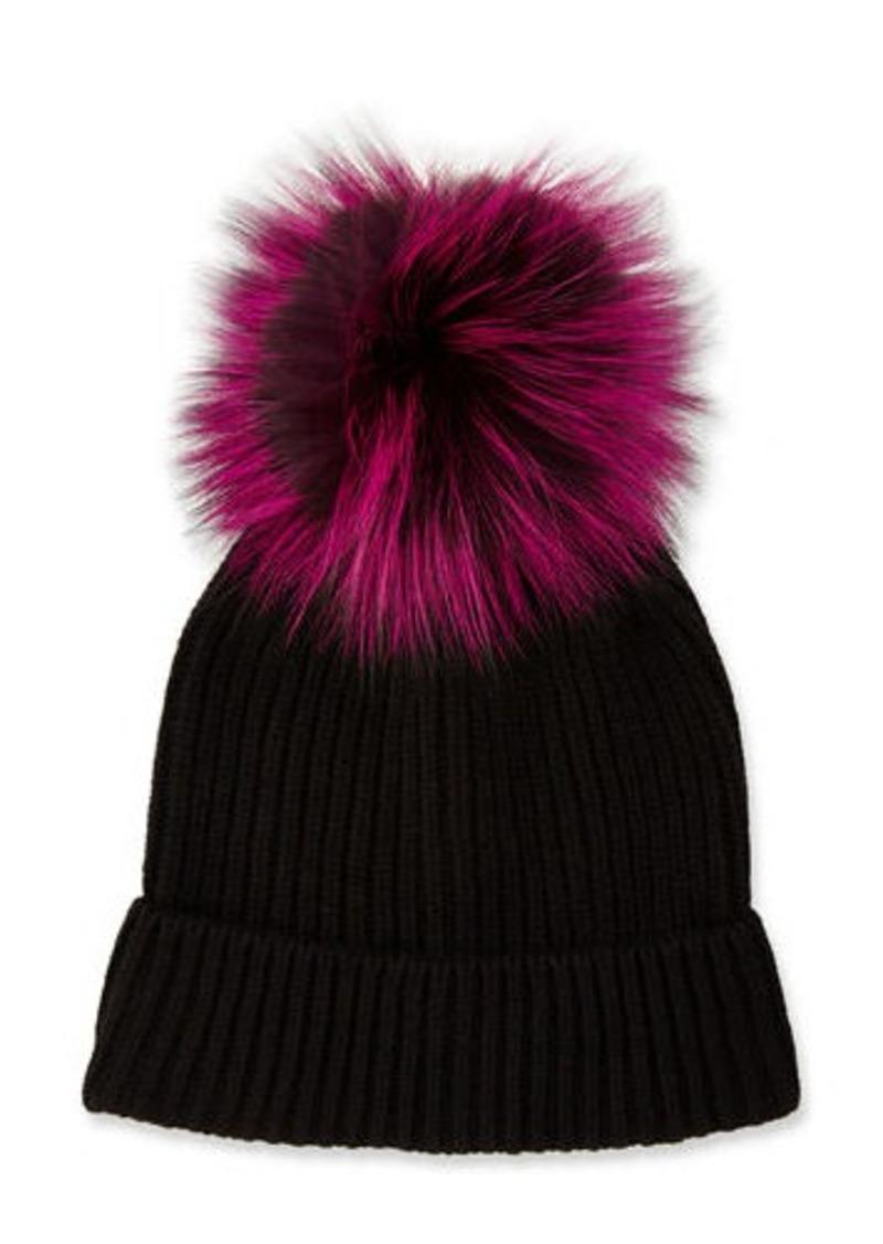2fb2ec2b008 Neiman Marcus Cashmere Fur-Pompom Hat