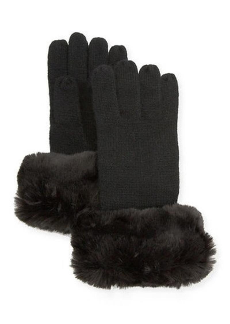 Neiman Marcus Cashmere Gloves w/ Faux Fur Cuff